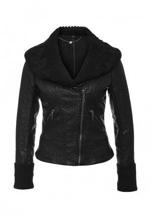 Куртка кожаная Fornarina. Цвет: черный