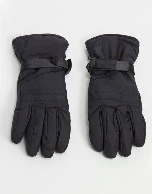 Черные горнолыжные перчатки -Черный цвет Consigned