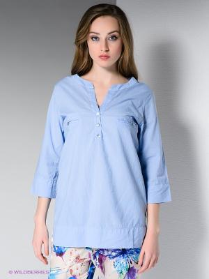 Блузка DRS Deerose. Цвет: голубой