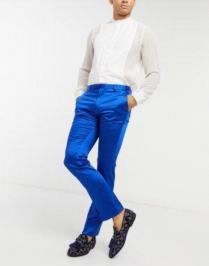 Ярко-синие зауженные брюки под смокинг -Синий Twisted Tailor