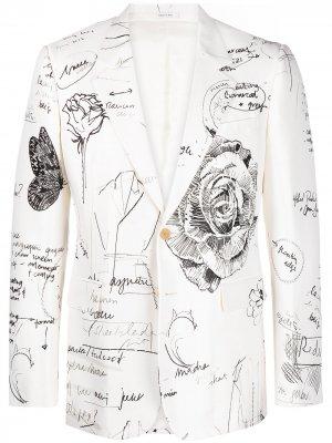 Однобортный пиджак Sketchbook Alexander McQueen. Цвет: белый