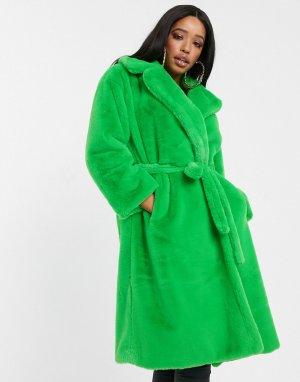 Зеленая шуба из искусственного меха -Зеленый Jayley