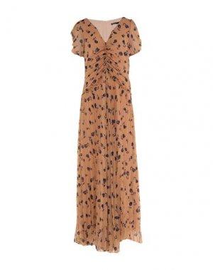 Длинное платье DENNY ROSE. Цвет: верблюжий