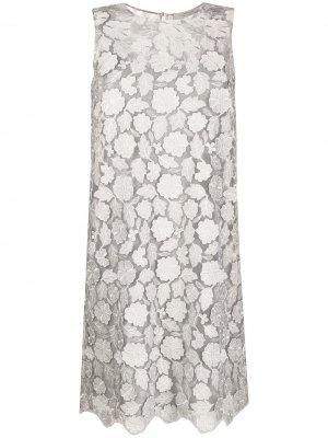 Платье-трапеция с кружевной вышивкой D.Exterior. Цвет: серый