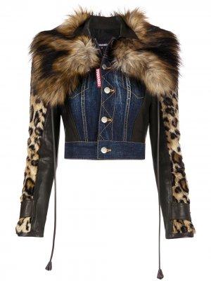 Укороченная джинсовая куртка с леопардовым принтом Dsquared2. Цвет: синий
