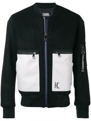 Куртка-бомбер с контрастными карманами Karl Lagerfeld. Цвет: черный