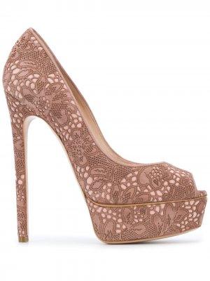 Floral lace stiletto pumps Casadei. Цвет: розовый