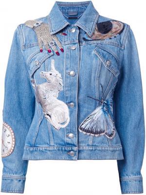 Декорированная джинсовая куртка Alexander McQueen. Цвет: синий
