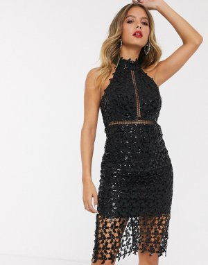 Черное кружевное платье миди с высоким воротником и отделкой пайетками -Черный Bardot
