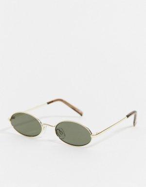 Солнцезащитные очки в круглой оправе -Золотой Le Specs