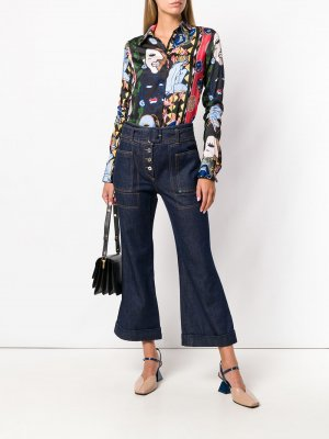 Укороченные джинсы с завышенной талией Carven. Цвет: синий