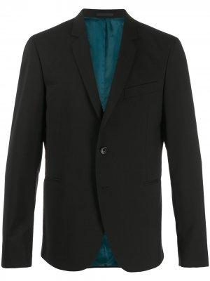 Однобортный пиджак строгого кроя PS Paul Smith. Цвет: черный