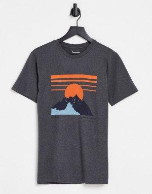 Серая футболка из органического хлопка с принтом горы -Серый Knowledge Cotton Apparel