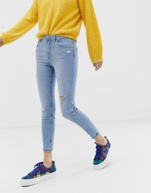Синие укороченные зауженные джинсы -Синий Bershka
