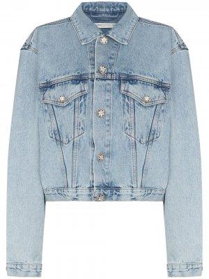 Джинсовая куртка с декорированными пуговицами Alessandra Rich. Цвет: синий