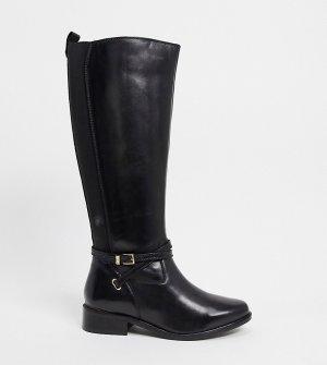 Черные кожаные сапоги с пряжками -Черный цвет Dune