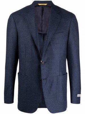 Фактурный однобортный пиджак Canali. Цвет: синий