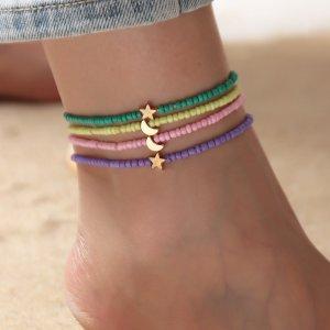 4шт Ножной браслет с декором звезды и луны для девочек SHEIN. Цвет: многоцветный
