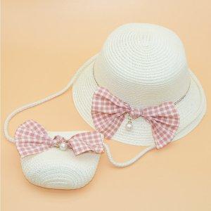 Соломенная шляпа и сумка для девочек с бантом SHEIN. Цвет: белый