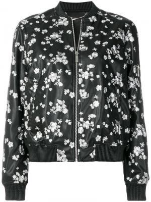 Куртка-бомбер с цветочной вышивкой Michael Kors. Цвет: черный