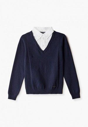 Пуловер Silver Spoon с пристяжной манишкой. Цвет: синий