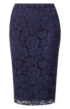 Кружевная юбка-миди Valentino. Цвет: синий