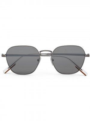 Солнцезащитные очки в квадратной оправе Ermenegildo Zegna. Цвет: серый