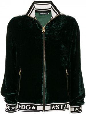 Бархатный бомбер с логотипом Dolce & Gabbana. Цвет: зеленый