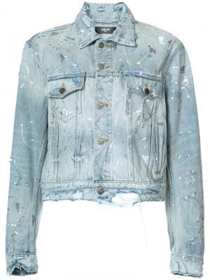 Джинсовая куртка с брызгами краски Amiri. Цвет: синий