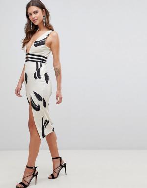 Облегающее платье с глубоким вырезом и принтом ASOS DESIGN. Цвет: мульти