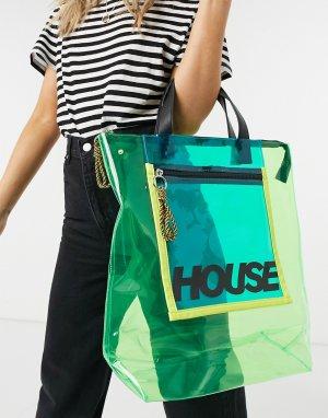 Зеленая прозрачная сумка-тоут с молнией -Зеленый цвет House of Holland