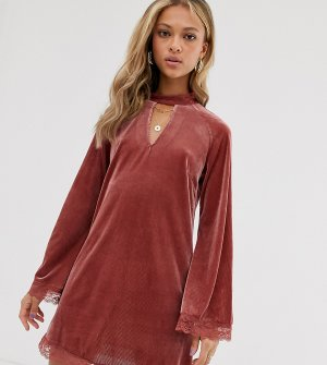 Платье мини с высоким воротом и кружевной отделкой -Розовый ebonie n ivory