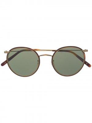 Солнцезащитные очки Casson в круглой оправе Oliver Peoples. Цвет: коричневый