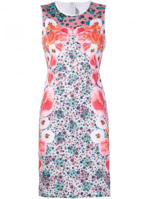 Приталенное платье с цветочным принтом Clover Canyon. Цвет: зелёный