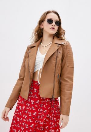 Куртка кожаная Noisy May. Цвет: коричневый