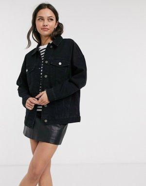 Черная джинсовая oversize-куртка -Черный ASOS DESIGN