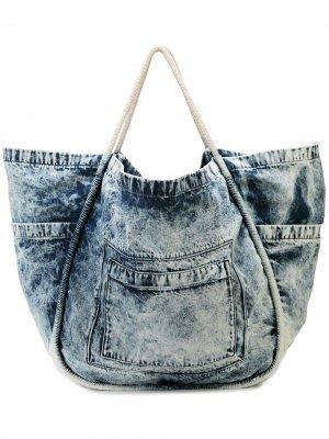 Большая джинсовая сумка-тоут Proenza Schouler. Цвет: dark acid denim