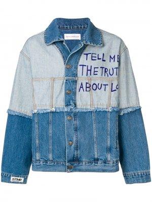 Джинсовая куртка с принтом Love Faith Connexion. Цвет: синий