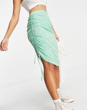 Юбка миди с мелким цветочным принтом и сборками по бокам от комплекта -Зеленый цвет Influence