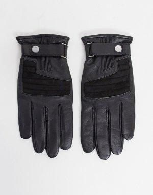 Черные кожаные перчатки HUGO-Черный BOSS