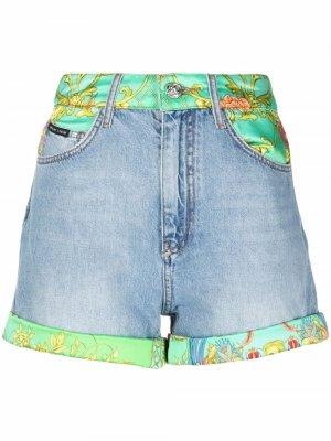 Джинсовые шорты с принтом New Baroque Philipp Plein. Цвет: синий