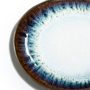 Комплект из 4 плоских тарелок La Redoute. Цвет: белый