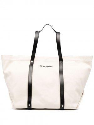 Дорожная сумка с логотипом Jil Sander. Цвет: черный