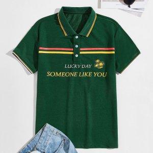 Мужская рубашка-поло в полоску с текстовым принтом SHEIN. Цвет: зелёные