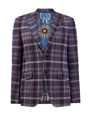 Пиджак в неаполитанском стиле с принтом клетку ETRO. Цвет: синий
