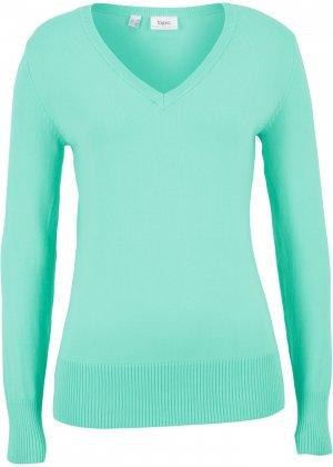 Пуловер тонкой вязки bonprix. Цвет: зеленый