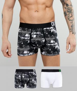 Набор из 2 модных боксеров-брифов Cristiano Ronaldo CR7. Цвет: черный