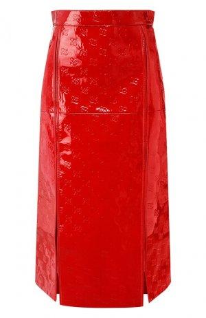 Кожаная юбка Fendi. Цвет: красный