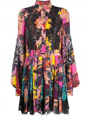 Платье-рубашка с цветочным принтом Antonio Berardi. Цвет: черный