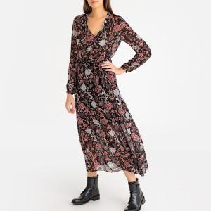 Платье длинное с рисунком пионы IKKS. Цвет: рисунок черный
